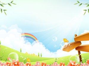 安卓动漫 卡通 可爱 绿色植物 七彩虹 树木 儿童桌面专用 尼玛手机壁纸