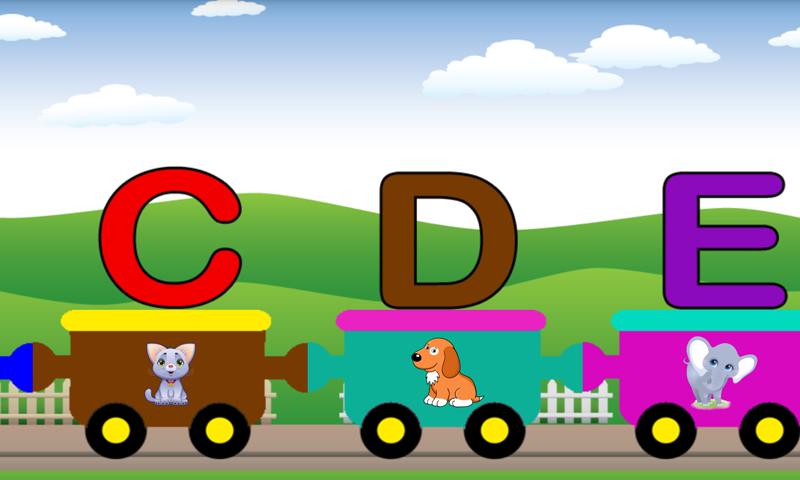 字母们组成小火车,每个字母由一截车厢来表现.